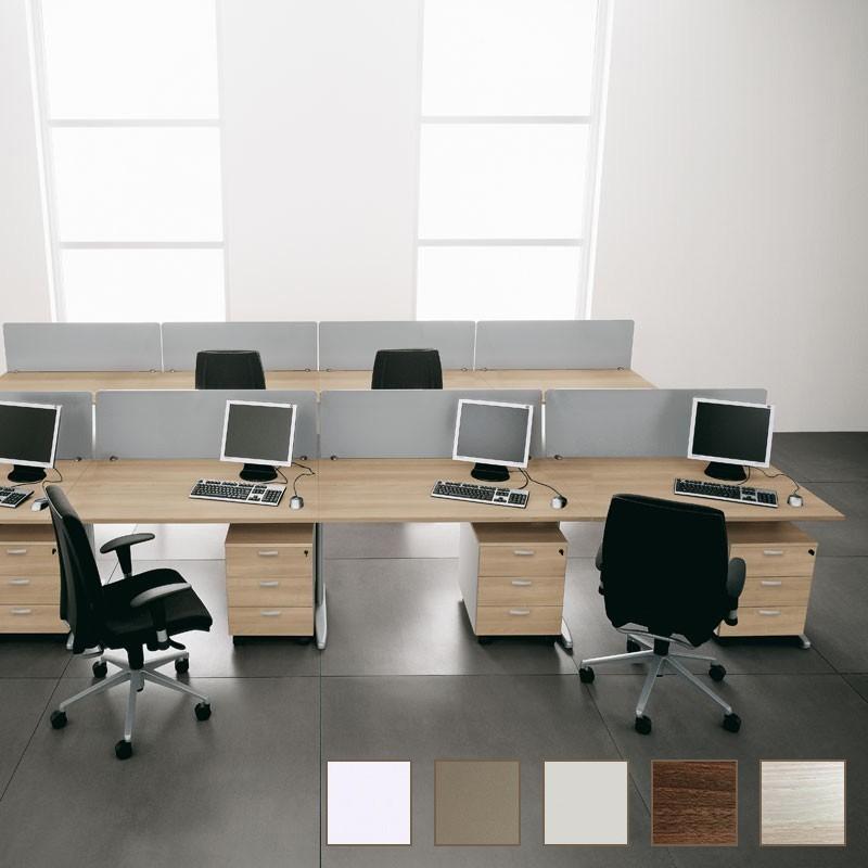Exemple d'ensemble de bureaux So Efficent en finition Acacia (panneaux frontaux et caissons en option)