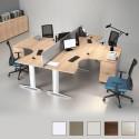 Bloc de 4 bureaux So Efficient Curve sur caisson porteur, en finition Acacia (panneau frontal MDF laqué gris en option)