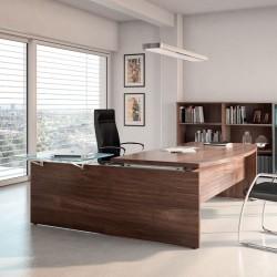Bureau de direction design So Classic finition Noyer, et tablette en verre