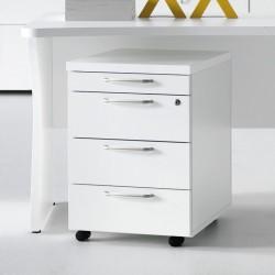 Le même caisson de rangement de bureau, en version 3 tiroirs + Bac fourniture, finition Blanc