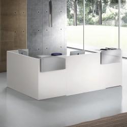 Banque d'accueil So Leggy en finition Blanc et tops en métal finition Aluminium