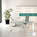 Bureau de direction So Sharp, plateau en verre et structure blanche