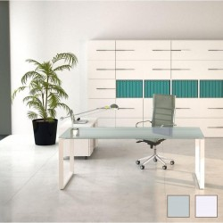 Bureau de direction So Sharp, plateau en verre et structure blanche