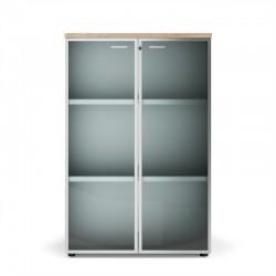 Amoire de rangement avec portes en verre, finition Acacia