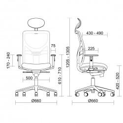 Cotes du fauteuil ergonomique Noone Sit