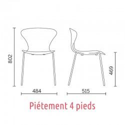 Dimensions de la chaise Beak Sit, piétement 4 pieds