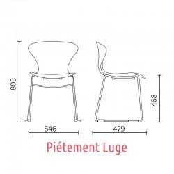 Dimensions de la chaise Beak Sit, piétement Luge