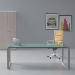 Bureau de direction So Sharp, plateau en verre et structure aluminium
