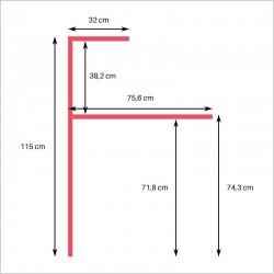 Dimensions, sans plateau PMR