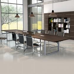 Table de réunion So Effective en finition générale Eucalyptus, et structure Aluminium