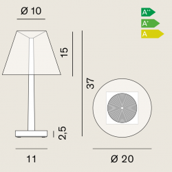 Lampes de bureau design Dina. Caractéristiques techniques