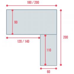 Cotes du bureau de direction So Big, en largeur 180 et 200 cm