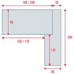 Cotes du bureau de direction So Big, en largeur 210 et 230 cm