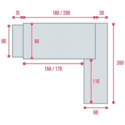 Cotes du bureau de direction So Big sur caisson, en largeur 236 et 256 cm
