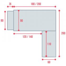 Cotes du bureau de direction So Big sur caisson, en largeur 206 et 226 cm
