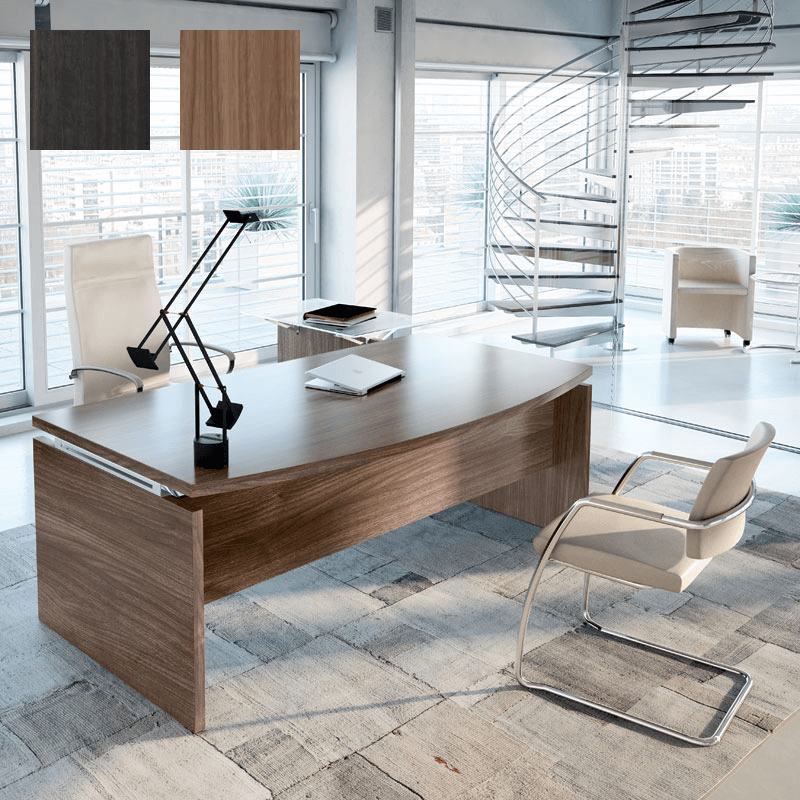 Bureau de direction So Classic 200x105cm finition Noyer, et tablette en verre