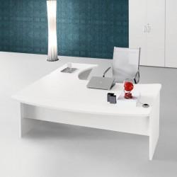 Bureau So Curline courbe 180x90cm, avec retour et allonge. Finition Blanc