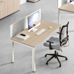 Bureau So Worky avec panneau frontal, largeur 120cm et finition Acacia