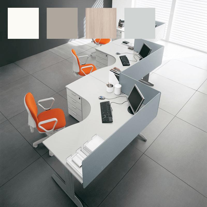 Bloc de 3 bureaux So Efficient Curve sur caisson 4 tiroirs, en finition blanche (panneau frontal en option)