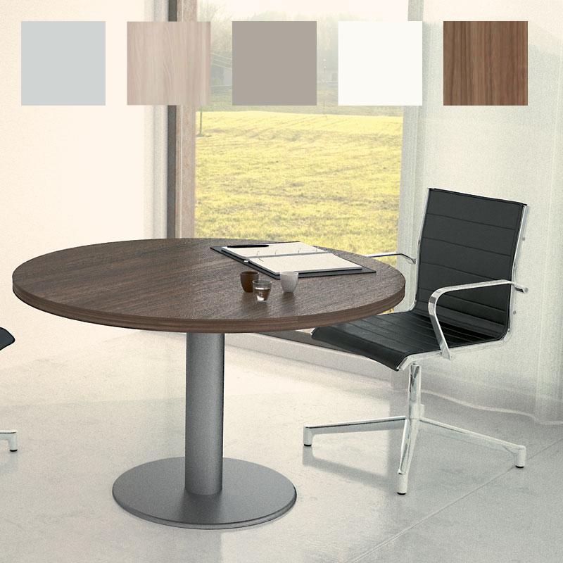 Table de réunion So Round (Plateau Noyer et piétement Aluminium)
