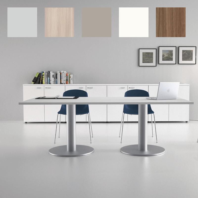 Table de réunion So Light (Plateau Gris, piétement Aluminium)