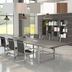Table de réunion So Effective en finition générale Gris tourterelle, et structure Aluminium