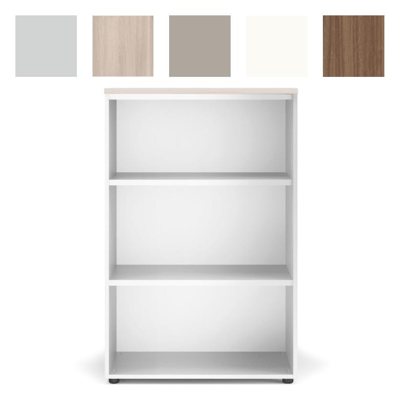 Armoire de rangement pour bureau, sans façade, 118cm de haut. Structure Blanc et Top Acacia.