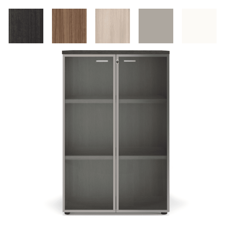Armoire de rangement vitrée pour bureau, finition Eucalyptus