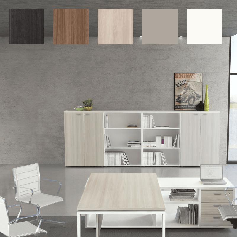 Ensemble d'armoires de rangement ouvertes et fermées, finition Blanc/Acacia