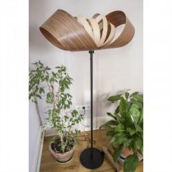 Lampadaire Emilie, abat-jour en feuilles de padouk et sycomore