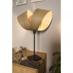 Lampe de bureau Emilie, abat-jour en bois