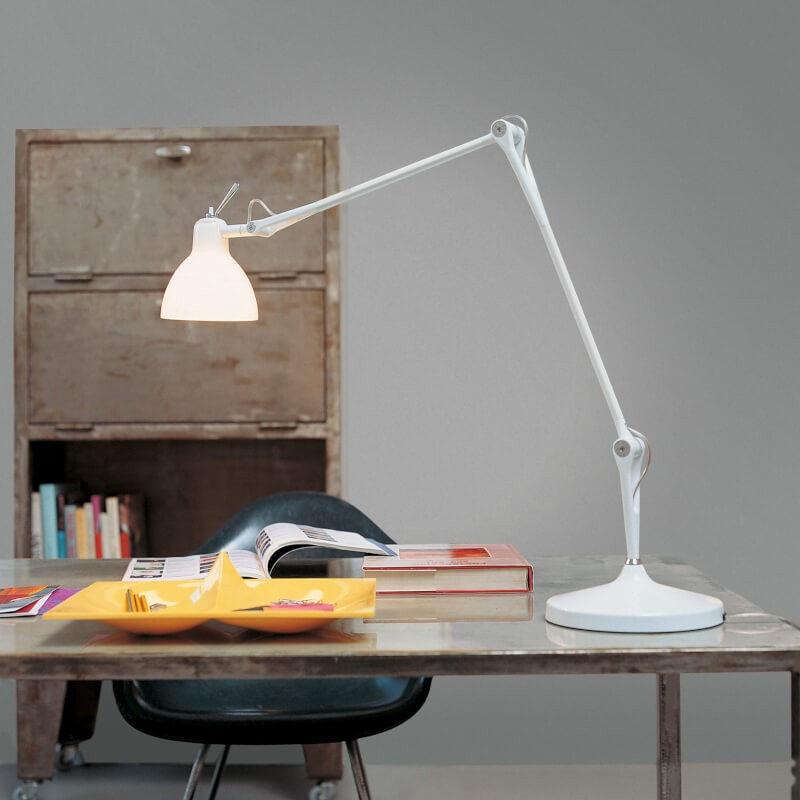 Lampe de bureau Luxy T2, pied et diffuseur blanc brillant