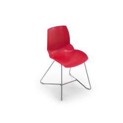 Chaise professionnelle Husk Sit rouge, piétement Luge