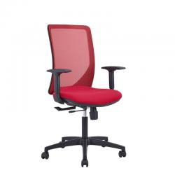 Fauteuil ergonomique Equalizzer Sit, dossier résille rouge et assise tissu M231, avec accoudoirs 2D