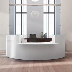 Banque d'accueil So Omny, structure et plateau en finition blanche (Composition #3)
