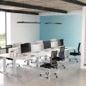 Ilôt de six bureaux So Efficient en finition blanche, et 3 panneaux frontaux (en option)